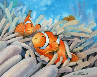 Clown Fish, Original Watercolor 10 x 8, FREE SHIPPING
