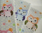 Owl Family Cotton Fabric in Pink Blue or Orange per Yard 34282