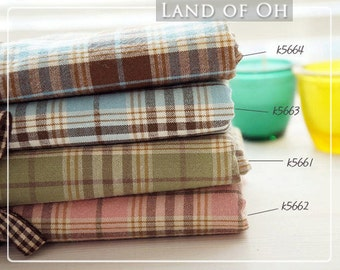 Pre-washed Cotton Fabric Plaid in 4 Colors (Pink Blue Green Brown) per Yard 28612 - 180