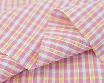 "Cotton Seersucker 5 mm Plaid - Pink & Yellow - per Yard (43 x 36"") 37373"