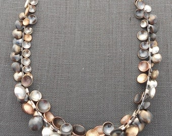 Mixed Metal Disc Necklace // Silver, Gold and Copper Beaded Necklace // Contemporary Jewelry