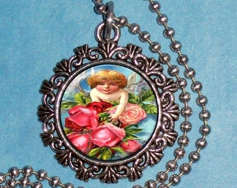 Cupid with Flowers Art Pendant, Valentine's Day Resin Pendant, Cupid Vintage Art, Photo Pendant Charm