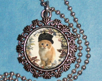 Vintage Cat Art Pendant, Kitten Wearing Hat Resin Pendant, Photo Pendant Charm