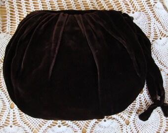 Vintage Brown Velvet Handbag/Muff