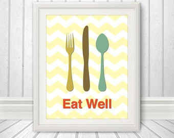Fork Knife Spoon Print Poster, Mid Century Art, Chevron Print, Kitchen Art, Retro - Fork Knife Spoon Eat Well Yellow Chevron - 11x14