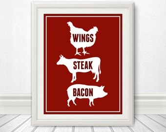 Wings, Steak, Bacon - Kitchen Sign, Kitchen Print, Kitchen Art, Bacon Print, Bacon Sign, 6 Sizes