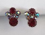 Red Rhinestone Vintage Earrings Screwback Ruby Red AB