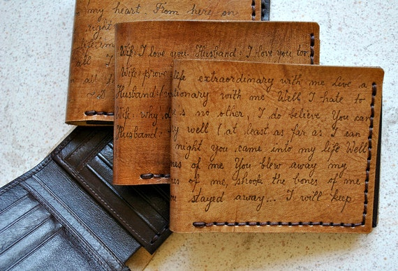 Leather wallet, custom personalized gift for your husband, boyfriend, father, brother.