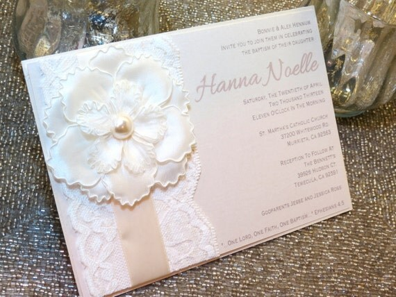 HANNA Ivory Pearl Lace Baptism Invitation Unique Flower