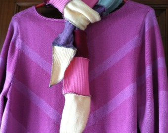 Upcycled pastel sweater scarf in pink, burgundy, seafoam, yellow, lilac