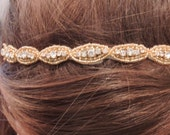 "Gold Headband, Crystals, Beaded, Wedding, Bridal, Flower Girl, Tiara, Hair Piece. WHITE or IVORY Ribbons, Crystals, Rhinestones- ""Caraline"""