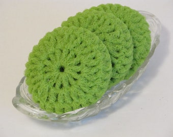 Nylon Netting Scrubbies In Lime Green For Dishes Pots And Pans