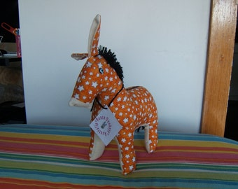 Peace donkey - orange with white stars