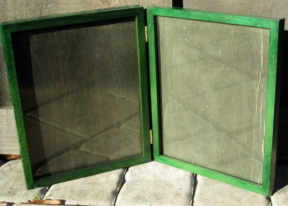 Emerald Green Vintage Wood Frames Double Hinged 8x10 Lodge