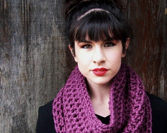 READY TO SHIP cowl scarf neck warmer handmade crochet infinity large chunky crochet eternity loop circle women fig plum violet amethyst