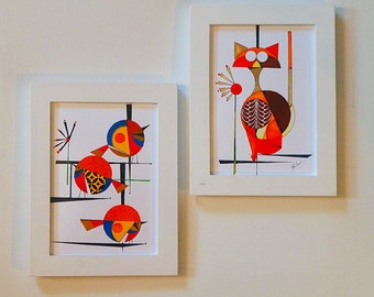 original mid century modern bird 5x7 print lulu by colbyandfriends. Black Bedroom Furniture Sets. Home Design Ideas