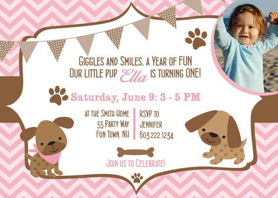 Dog Birthday Party Invitations Puppy Dog Party Invites 1st Birthday