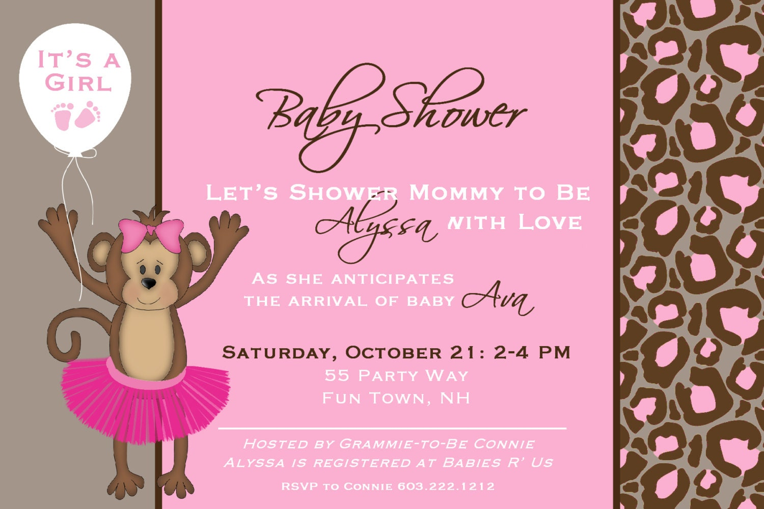 monkey tutu baby shower girl invitation by asyouwishcreations4u