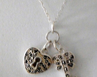 Sterling  HEART LOCK and KEY Marcasites fine chain