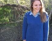 Blue V-Neck Studded Sweater