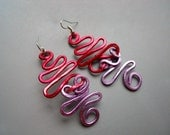 Hammered Anodized Aluminum Red Lavender Purple Crazy Swirl Cyclone Dangle Bold Earrings