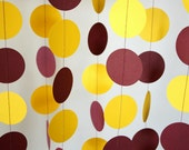 Burgundy and Yellow School Colors Garland, Graduation Decor, Birthday Party Paper Garland, Burgundy & Gold