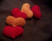 Puffy crochet hearts, bowl filler home decor - Hearts of Fire set of 5