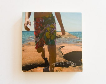 "Summer Beach photography, Photo Art Block, Limited Edition Image Transfer on 12""x12"" Wood Panel by Patrick Lajoie"