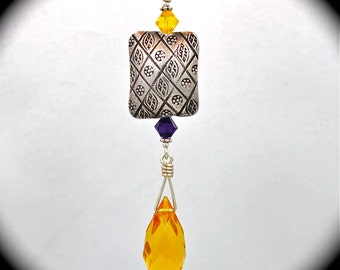 Sterling pendant with Hill Tribe sterling bead, amethyst & amber crystal briolette.