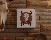 ON SALE-  White Buffalo Shield Original Southwest Folk Art Painting Acrylic on Canvas 12 x 12