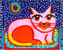 Whimsical Animal Art, Cat Art, Art For Kids, Orange And Pink, Nursery Room Art, Pink Cat, Whimsical Cat Art, Pinky Cat by Paula DiLeo