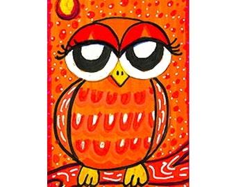Owl Art, Whimsical Art, Owl Print, Kids Wall Art, Nursery Decor, Owl Decor, Mixed Media Art, Orange Owl, Little Orange Owl by Paula DiLeo