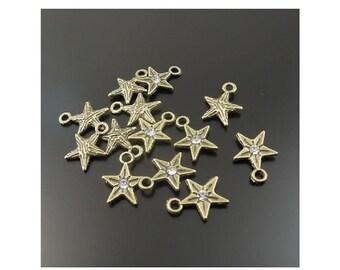 16 Little Tiny Rhinestone Star Charms Bronze Tone Mini Celestial Charm Jewelry  8x8x1 mm