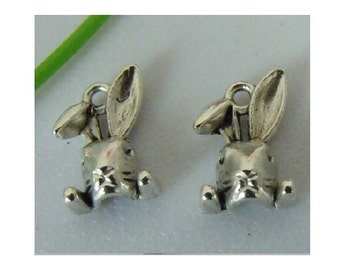 8 Cute Floppy Earred Bunny Rabbit Charms Spring Easter Charm Jewelry Atq Silver Tone or Bronze Tone 15 x 11 mm