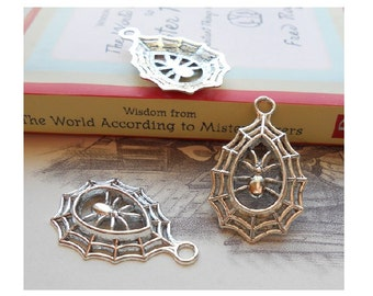 4 Oval SPIDER WEB with Spider Charms Atq Silver Tone Halloween Pendants Jewelry Great for Earrings 34 x 22 mm
