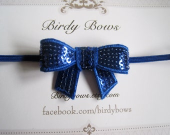 Royal Blue Sequin Bow Headband, Baby Headbands, Infant Headbands, Girl Headbands, Baby Girl Headbands, Baby Bow