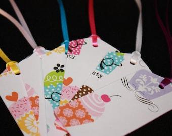 Cupcake Birthday Gift Tags - 6 Tags
