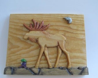 Wood Carving Dwarf Caribou Wood Sculpture Wall Decor Hand Carved Wall Plaque Birthday Elf, Gnome, Relief Carving,  Fantasy, Moon