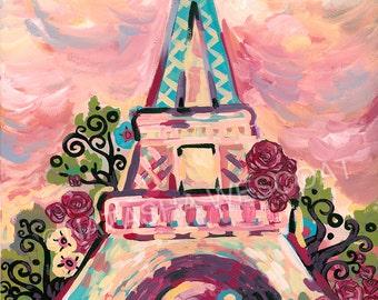 Chic PARIS France Eiffel Tower Lumiere de la Ville  Fine Art PRINT by Natasha Wescoat 8x10 12x16 13x19 16x20