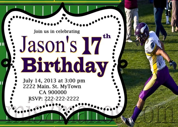 football birthday invitation printable by mmpartydesigns on etsy, Birthday invitations