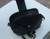 dark blue leather bag made in Spain circa 1960's free shipping