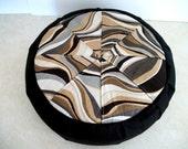 Round Geometric Mandala Zafu Meditation Cushion with Buckwheat Hulls. Made by a Micro Business in the USA