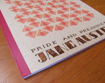 Jane Austen notebook, hand painted - geometric (7x10 inches)