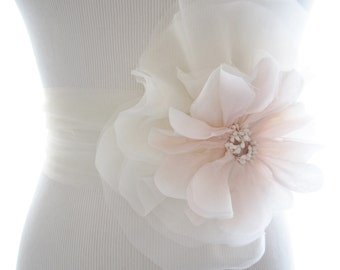 Delicate Blush Pink Poppy and Silk Chiffon Bridal Sash, Bridal Belt, Tulle sash
