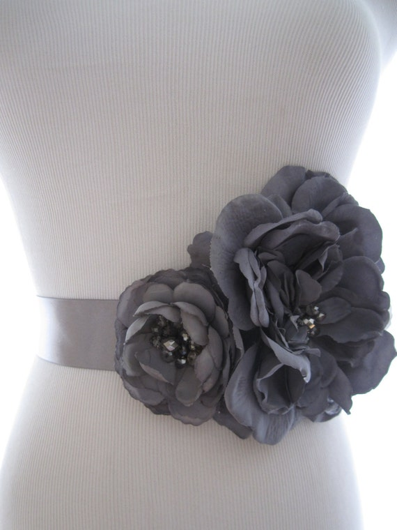 Lovely and Dramatic Two Bloom Beaded Silk Flower Bridal Belt Sash:  Black