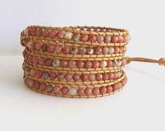 Neutral Leather Wrap Bracelet - Lepidolite semi-precious Stone, Natural Leather - Bohemian Boho Chic