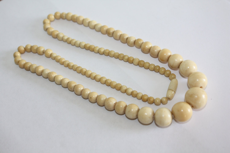 Vintage Necklace Ivory Ox Bone Bead 1920s Jewelry