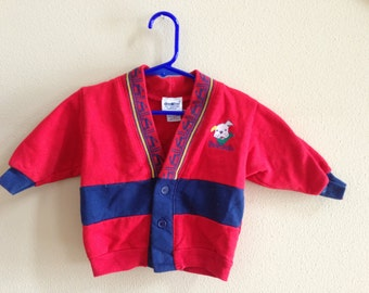 Vintage Red & Navy Baby Sweater