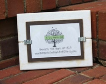 Picture Frame - Distressed Wood - Holds a 4x6 Photo - White and Chocolate Brown