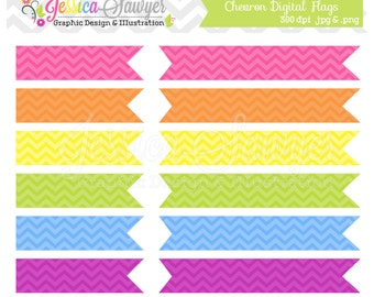 INSTANT DOWNLOAD,  Chevron Digital Flags Clipart Clip Art Commercial Use Personal Use Digital Scrapbooking Invitation Design